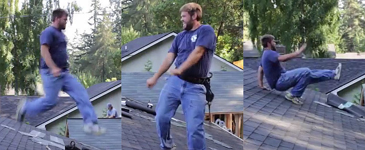 This Roofer's Got Moves You've Never Seen