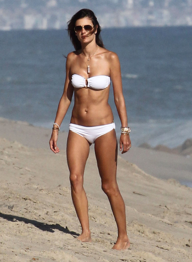 In August 2014, Alessandra Ambrosio wore a white two-piece when she hit the beach in Malibu.