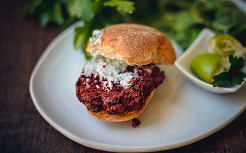 Smoky Black Bean Burgers with Herb Yogurt Sauce