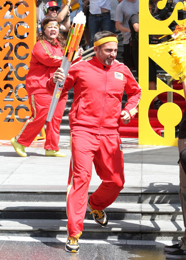Steve Carell and Melissa McCarthy donned matching outfits while filming a commercial for Stand Up to Cancer in LA on Wednesday.