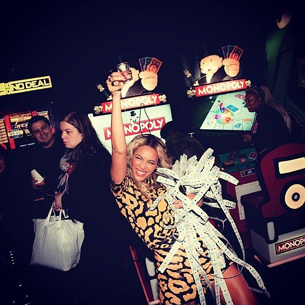 She took shots (and won tons of tickets) while playing video games at Dave & Buster's during her album release party in December 2013. Source: Instagram user beyonce