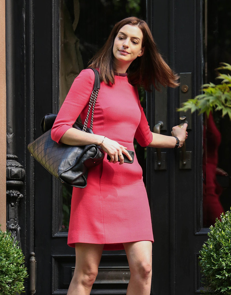 Anne Hathaway sported long locks on the set of her upcoming movie The Intern in NYC on Thursday.