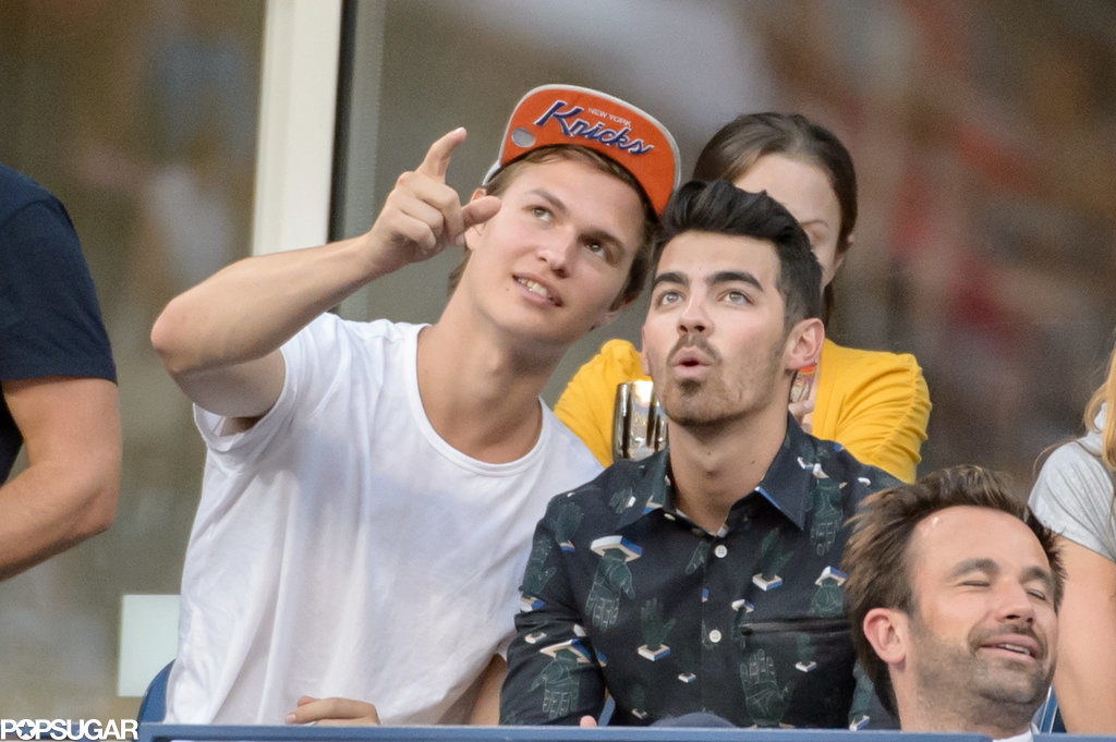 Ansel Elgort and Joe Jonas hung out at the US Open in NYC on Wednesday.