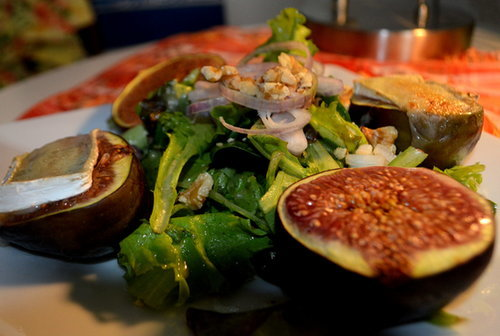 Simple Salad with Fresh Roasted Figs