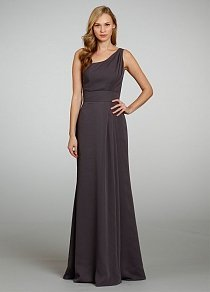 grey chiffon one shoulder sleeveless a line floor drape bridesmaid dress
