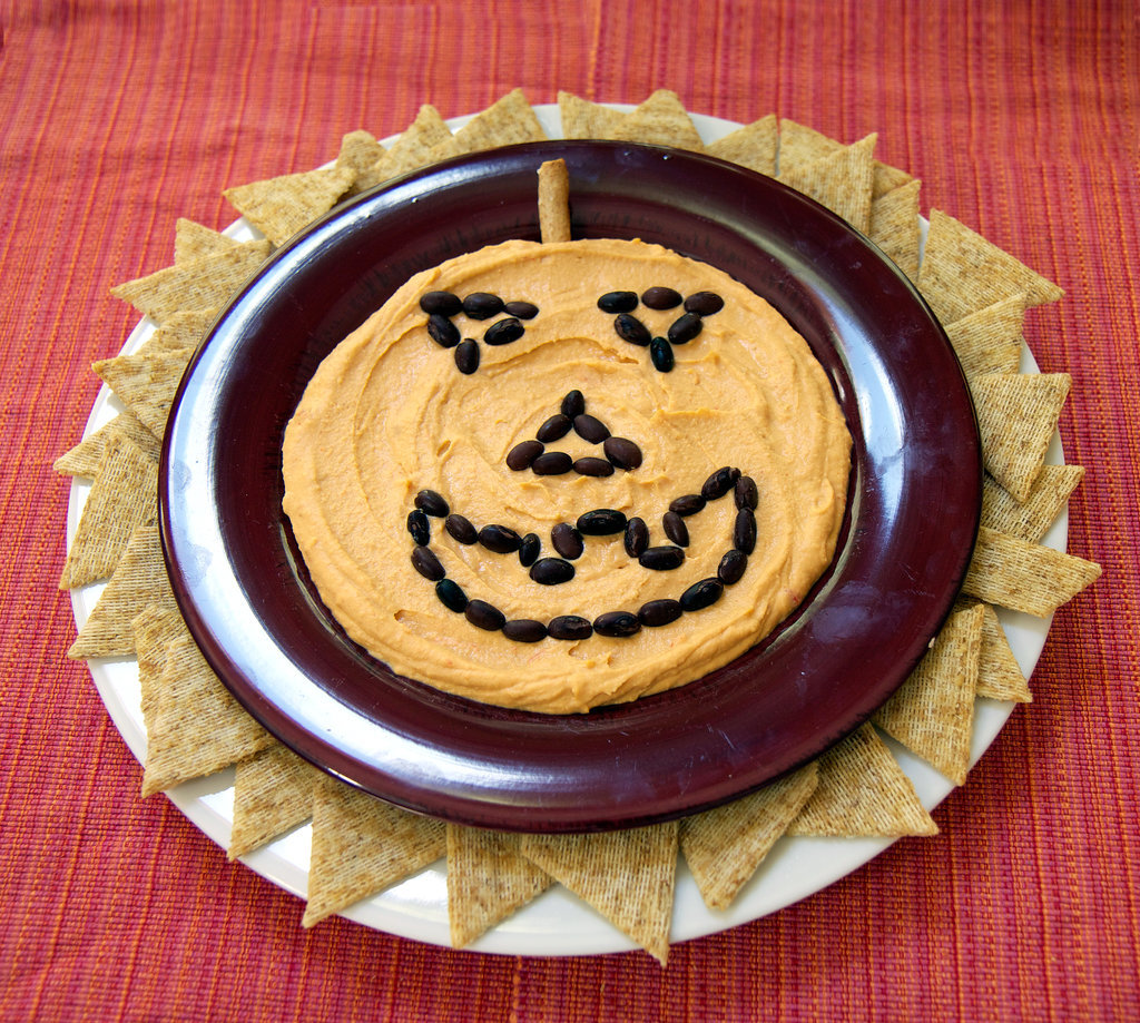 Jack-o'-Lantern Halloween Hummus Plate. Photo: Jenny Sugar