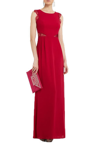 $197.00 BCBG KAREY LACE-DETAIL EVENING GOWN ROSE