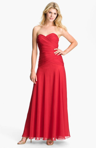 Red Pleated Strapless Chiffon Prom Dress