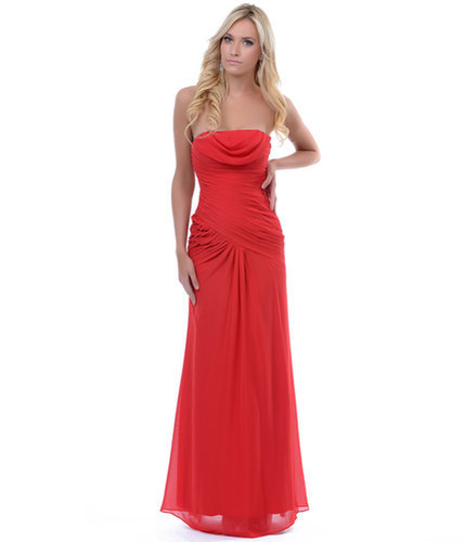 Red Pleated Draping Strapless Long Prom Dress
