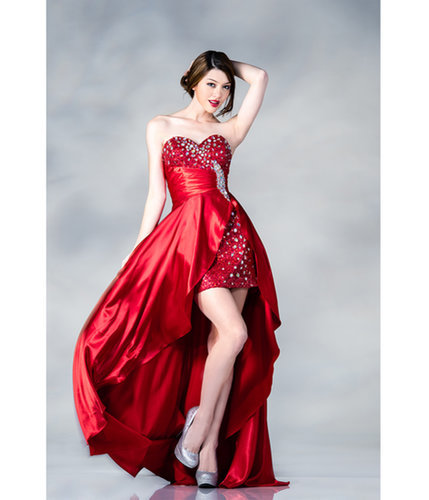 Red Sequin & Satin High-Low Prom Dress