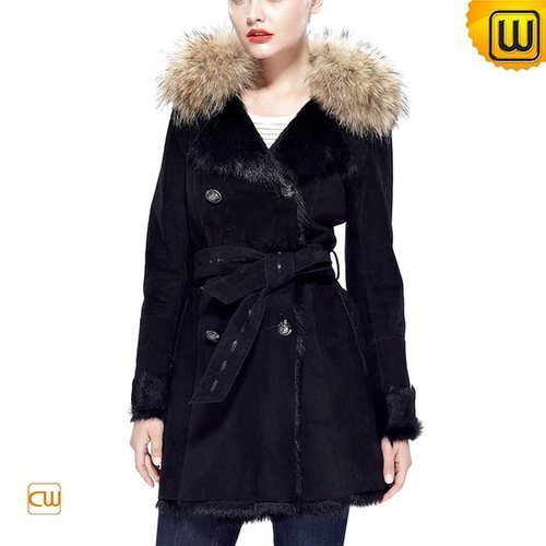 Belted Shearling Coat for Women CW644369