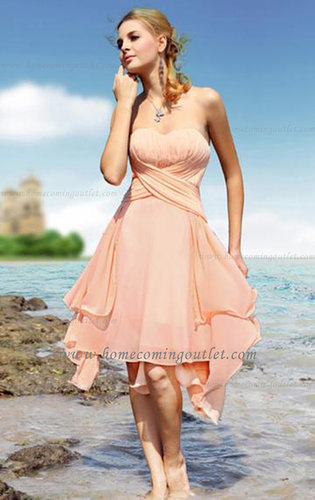 Knee Length Chiffon A-line Strapless Sleeveless Homecoming Dress [Dresses For You 180] - $151.99 : Prom and Homecoming Dress Onl