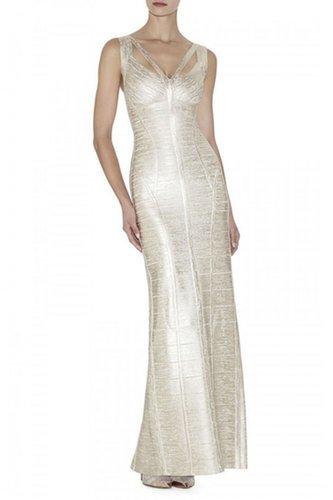 £106.00 HERVE LEGER  Alenis Woodgrain Foil-Print Dress