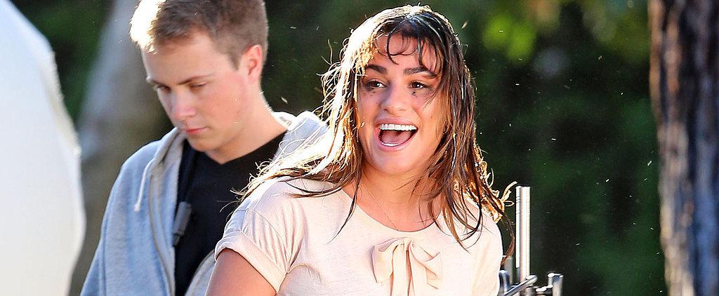 Lea Michele Gets Egged While Filming Glee