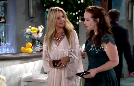 sharon newman pink baby shower dress the young and the restless