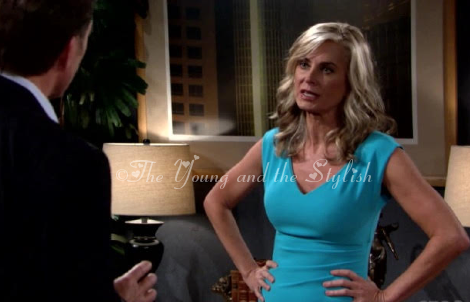 ashley abbott blue dress the young and the restless