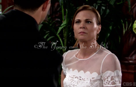 phyllis newman white sheer top the young and the restless