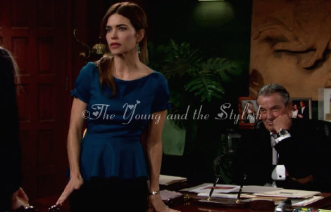 victoria newman blue top the young and the restless amelia heinle