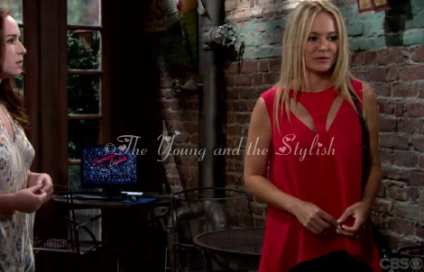 sharon newman red cutout top the young and the restless