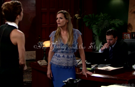 chelsea newman blue scallop top the young and the restless