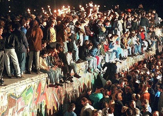 On Nov.11, 1989 - People celebrate on the Berlin Wall