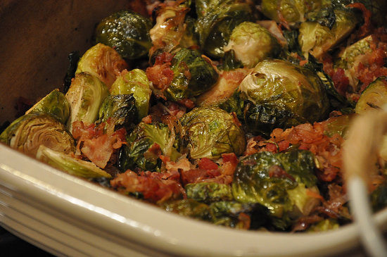 Sweet delicious pancetta with brussels sprouts