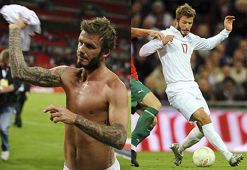 Photos of Shirtless David Beckham Playing Soccer for England 2009-10-15 06:00:00