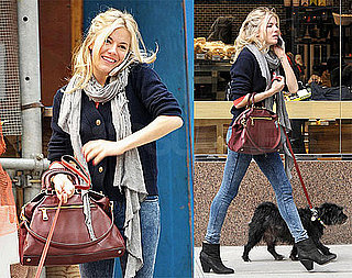 Photos of Sienna Miller Walking Her Dog And Talking on Her Cell Phone in NYC