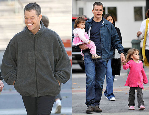 Photos of Matt Damon, Luciana, and the Kids on Set of the Adjustment Bureau