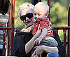 Slide Photo of Gwen Stefani and Zuma Rossdale on the Playground in LA