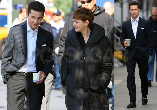 Photos of Shia and Carey on Set