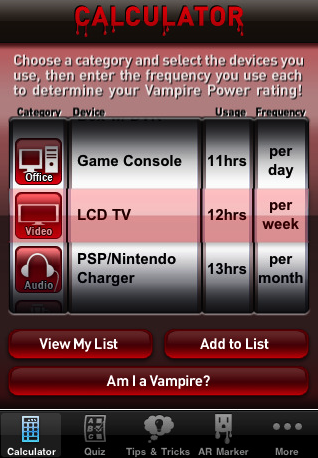 Photos of the Vampire Power Application