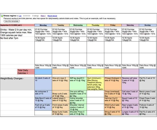 Google Docs Fitness Template
