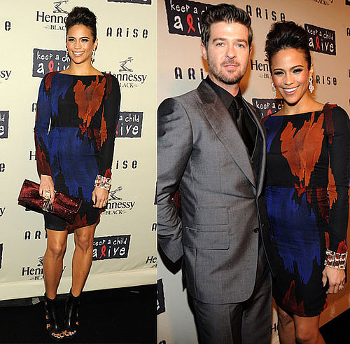 Paula Patton Attends Keep a Child Alive's 6th Annual Black Ball in Black, Brown, Red Proenza Schouler Dress