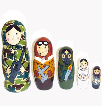 Put a new spin on the old classic with these cartoonish Army-Themed Matryoshca Nesting Dolls ($50) from Kid Robot.