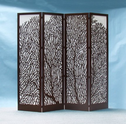 This Laser-Cut Wood Screen ($1300) would light up a corner with a bright light placed behind it. I love that gorgeous coral cutout in its design!