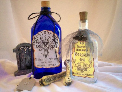Add these Potion and Poison Bottles ($19.95) next to a bowl of punch at your Halloween party, and make your guests wonder about the ingredients.