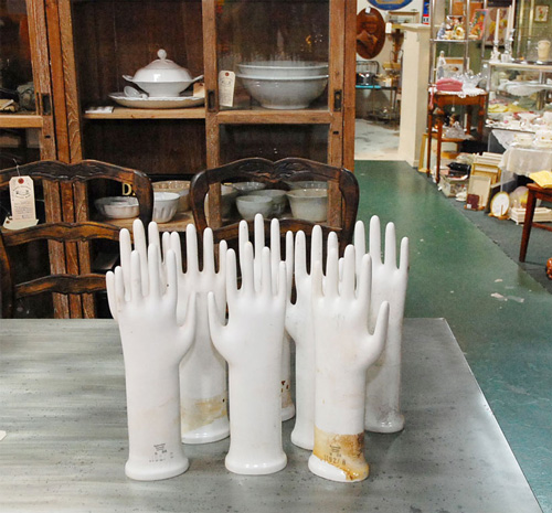 Try displaying rings or bracelets on these antique German Glove Molds ($100).