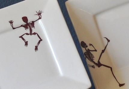 Celebrate the danse macabre with this set of four square skeleton plates($40).