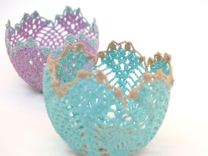 These Lacey Crochet Votive Holders ($28) are made from stiffened doilies for a shabby-chic look.