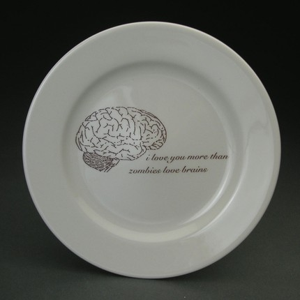 Remind your guests of zombies' favorite meal when you serve them on these Zombies Love Brains Plates ($60 for a set of 4).