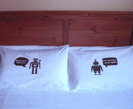 Declare your robot love with these I Heart Robot Pillow Covers ($35).