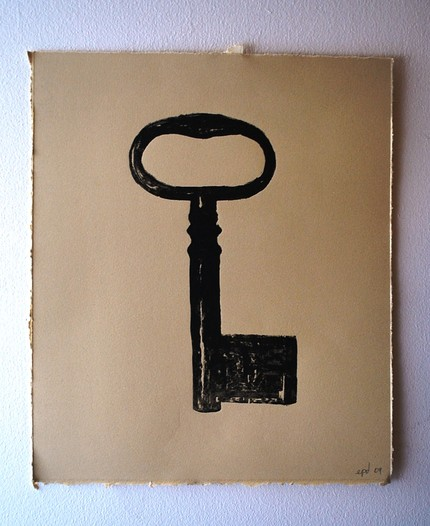 This Skeleton Key Linoleum Print ($25) is a beautiful, simple piece of art.