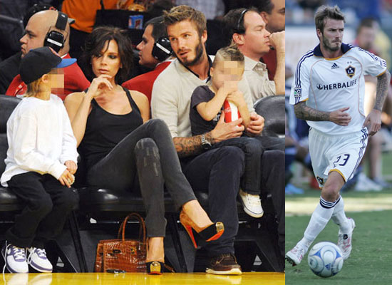 Photos of Beckhams at Basketball