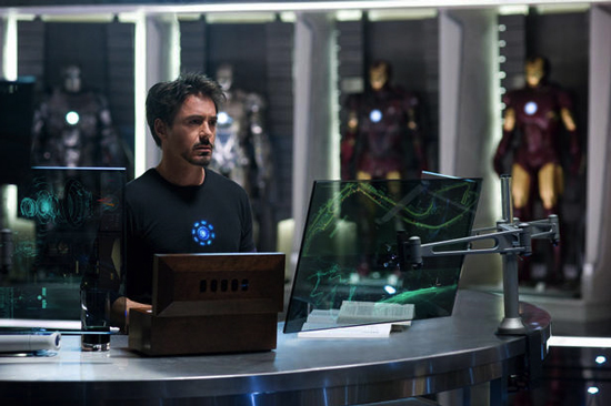 Tony Stark, in the Iron Man cave.