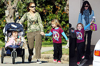 Photos of Jennifer Garner With Seraphina Affleck And Violet Affleck in LA; Ben Affleck Working on The Town in Boston