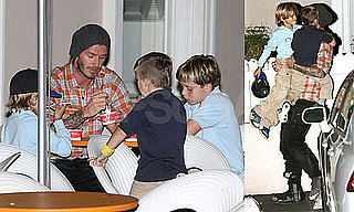 Photos of David Beckham, One of People's Sexiest Men, With Romeo Beckham, Brooklyn Beckham, and Cruz Beckham