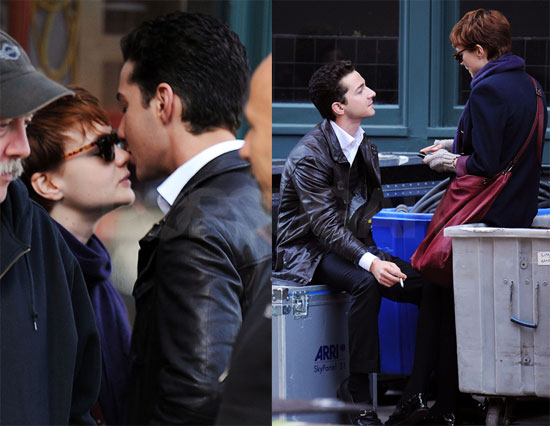 Photos of Shia LaBeouf Kissing Carey Mulligan on Set of Wall Street 2 2009-11-16 14:58:07