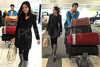 Photos of Dev Patel and Freida Pinto at Heathrow Airport