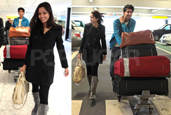 Photos of Dev Patel and Freida Pinto at Heathrow Airport 2009-11-19 09:03:22